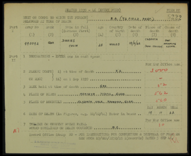 1942 Death Entry Form Military