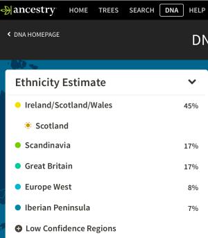 Eunice Jeffers DNA results www.ancestry.com